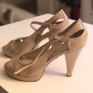 Franco Sarto Nude Peep Toe Heel size 7